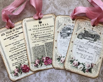 French inspired tags, set of 4 different designs with crystal rhinestones and paper flowers.