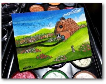 Wildlife Wonders Rabbit - Rose Bush Cottage - Original ACEO Painting - Art by AmyLyn Bihrle wd274
