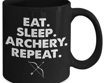 Eat Sleep Archery Repeat Bow Arrow Coffee Mug