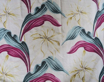 TROPICAL BARKCLOTH panel, 1950s fabric, mid century decor, Eames era cotton, upholstery fabric, Hawaiian design, craft fabric
