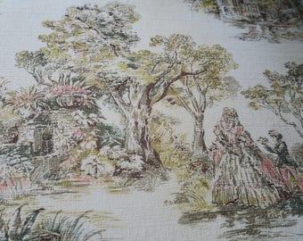SCENIC barkcloth, 1950s fabric, mid century, romantic barkcloth,retro fabric, country decor, soft colours,historical garden,  40s decorating