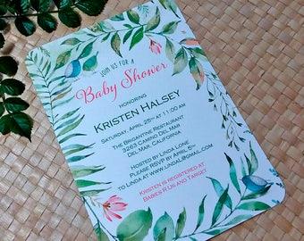 Baby Shower Invitation, Greenery Shower Invitation, Rustic Floral Baby Shower, Baby Shower Girl, Baby Shower Boy