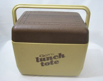 Vintage Gott Lunch Tote Personal Cooler Ice Chest Beer Picnic Brown Lunch Box 1806