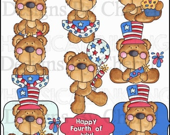 Busy Bears Fourth of July Clipart Collection- Immediate Download