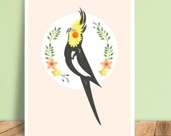 Cockatiel Cartoon Character Art Print Illustration A5