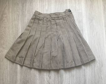 Vintage 90s Pleated Houndstooth Mini Skirt S
