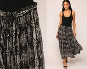 Ethnic Maxi Skirt Floral Boho Hippie Cotton SHEER 90s Bohemian Vintage Broomstick Long Festival Black White Small Medium Large xs xl