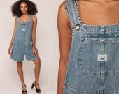 Denim Overall Shorts Jean Shortalls Bib Playsuit 90s Grunge Jean Pocket Suspender Blue Normcore Woman 1990s Vintage Extra Large xl
