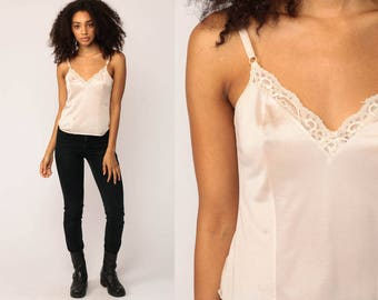 Lace Camisole Lingerie Sheer Lace Tank 80s Cami Top Off White Nylon Boho Spaghetti Strap Vintage 1980s Bohemian small