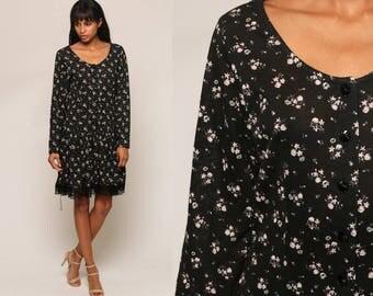 80s Floral Dress Grunge Mini Black Lace Trim Drop Waist Long Sleeve Black 1980s Vintage Button Up Minidress Medium