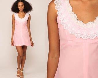 Babydoll Dress 60s Mod Mini 70s Boho LACE Collar Baby Pink 1970s Vintage Empire Waist Bohemian Sleeveless Twiggy Minidres Small