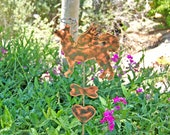 SOLD American Eskimo Mix Garden Stake, Pet Memorial, Metal Yard Art, Grave Marker, Copper Garden Art, Yard Art, Outdoor Dog Sculpture,