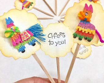 Pinata party decorations. Cheers to you. Birthday decorations. Pinata Cupcake Toppers. Birthday cupcake picks. Bright colors. Donkey pinata.