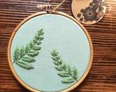 Hand Embroidered Hoop - 4 inch hoop - Botanical Leaves