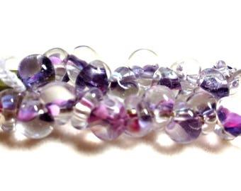 Unicorne Teardrop, Boro Glass, Color: 22618, Sleeping Beauty, Strand of 10 beads