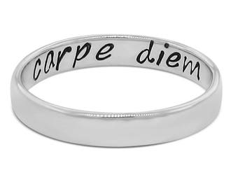 Secret message ring, hidden message ring, Carpe diem ring, seize the day ring, sterling silver ring