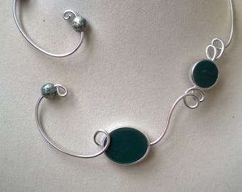 TEAL NECKLACE, Teal jewelry, Open collar necklace, Contemporary necklace, Modern necklace, Wire necklace, Prom jewelry, Bridesmaid jewelry