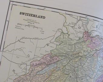 1891 Map- Switzerland - Atlas Page 14.5 x 22 in Great for Framing