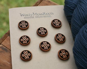 8 Madrone Love Knot Buttons- Oregon Madrone Wood- Wooden Buttons- Eco Craft Supplies, Eco Knitting Supplies, Eco Sewing Supplies