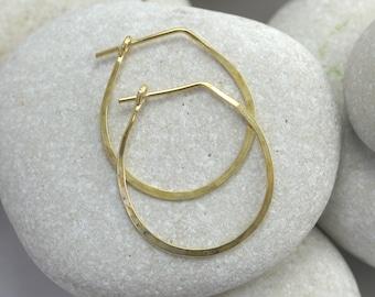 Mini Hammered Teardrop Hoop Earrings in sterling silver, 14K gold, or gold fill