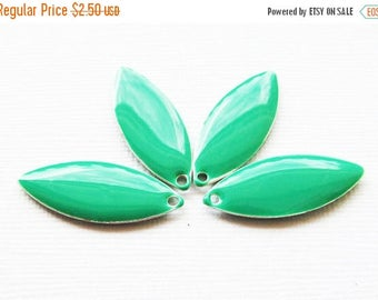 20% OFF Metal & Epoxy Solid Marquise Drops - Silver Plated Teal Green (4 drops) - spa378