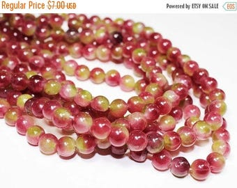 """20% OFF 7"""" Gemstone STRAND - Jade Beads - 8mm Smooth Rounds - Raspberry Pink and Chartreuse Green (7"""" strand - 25 beads) - str1226"""