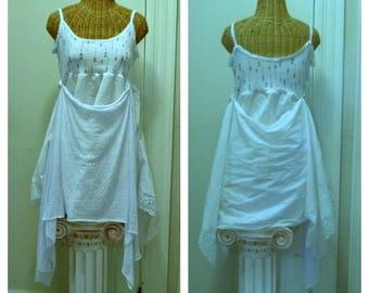 Arrow Handkerchief Dress Medium, Large Womens Boho White dresses Lagenlook Tribal by Savoy Faire