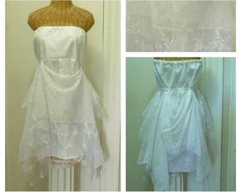 Strapless Wedding Dress Size Medium Large White Unique Eyelet Lace Boho Chic Lined Bridal Romantic Womens White Dresses by Savoy Faire