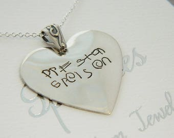 Handwriting Jewelry Kid's Signature Necklace Large Heart Pendant  in Sterling Silver