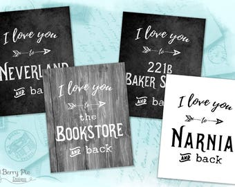 I LOVE YOU to... Storybook Destinations ...(and back) // Literature-inspired 8x10 Art Prints