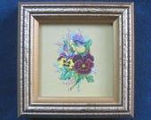 Cottage Garden Flowers Antique Framed Pansies Victorian Paper Die Cut