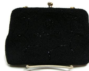 Vintage Black Beaded Evening Bags Black Beaded Bag