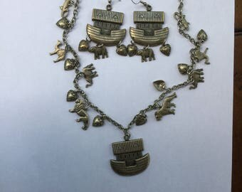 Noahs Ark Charms Necklace & Earrings Demi Parure