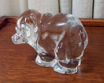 Vintage Glass Crystal Bear Paperweight New Martinsville Glass Animal Head to the Side