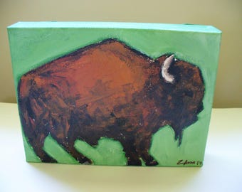 Bison Painting Buffalo Art Southwestern Decor Park City Utah Artist Jackson Hole Yellowstone