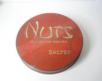 Antique NUTS Tin By Tindeco Tin Co. Nut-Butter-Toasted. Salted Tin Can.