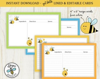 Bumble Bee Recipe Cards 4x6 both lined & edit Bees bumble bee cooking baking no. 896 bridal