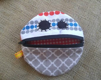 Monster Mouth Coin Pouch in Gray Flannel and Polka Dots