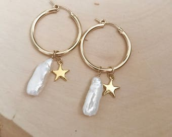 NEW! Pearl and Star Gold Hoop Earrings . charms. Classic flair.