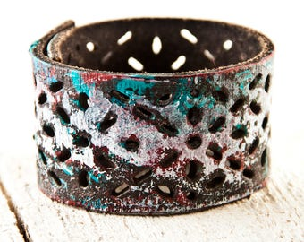 Leather Jewelry, Leather Cuff, Leather Bracelet, Leather Wristband