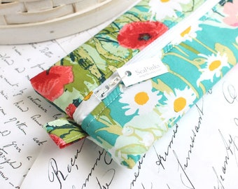 Floral Pencil Case Colorful Zipper Bag Teal Pencil Case Back to School Students