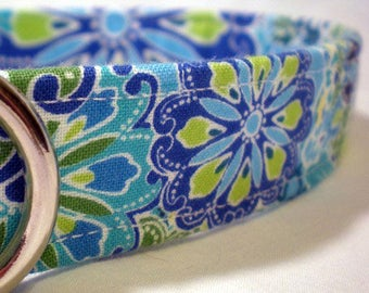 Blue Dog Collar Calypso Green Flowers Boy Girl