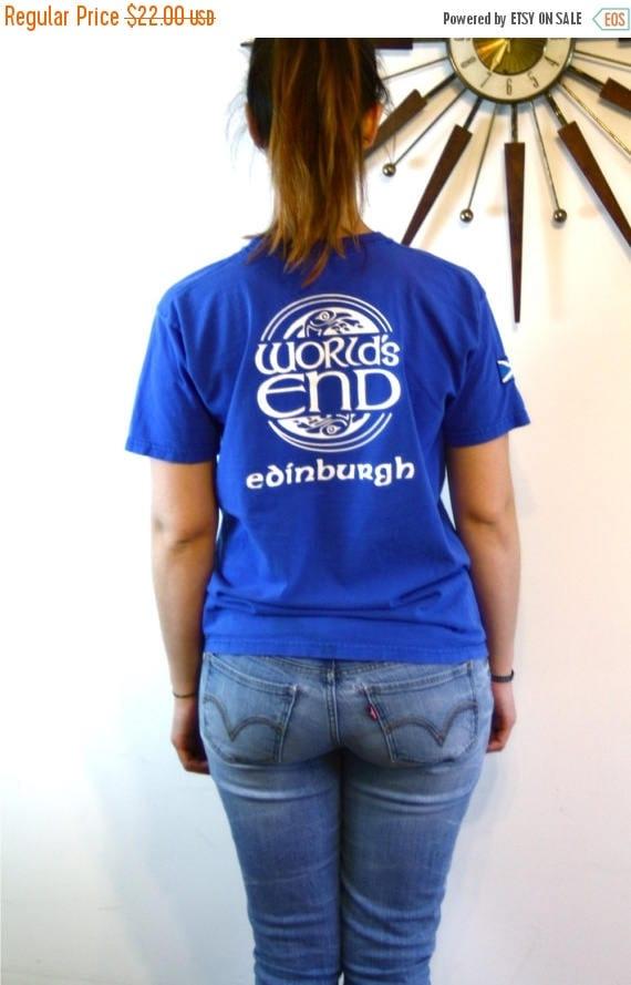 SALE 50% OFF Vintage 80s WORLDS End T-Shirt Edinburgh Ireland Patch T-Shirt Bright Royal Blue Cotton Print Celtic Bird Circle Design Logo Te
