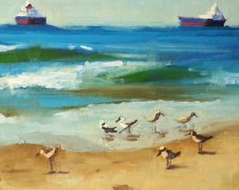 "Feeding Time - 8x10"" Fine Art Giclee Print from Original Oil Painting, Bird Art, Beach Painting, Plein Air Seascape"