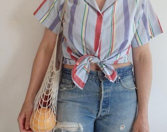 Blouse Vintage Striped Short Sleeve Button Up