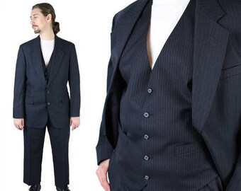 ON SALE Vintage 3 Piece Suit 42R 43R 36x29 Blazer Vest Pants Blue Pinstripe Stafford Free Us Shipping