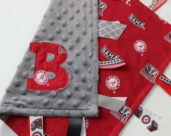 taggie, blanket, personalized, baby, gift, Crimson Tide, gray, University of Alabama, elephant, minky, ribbon, sensory, elephant, Roll Tide