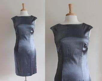 Vintage 1990s Metallic Gunmetal Grey Sheath Dress