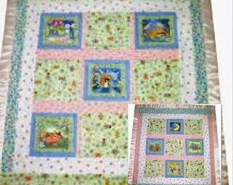 Enchanted Flower Fairy Garden Quilt, Flannel Baby Quilt, Baby Shower Gift