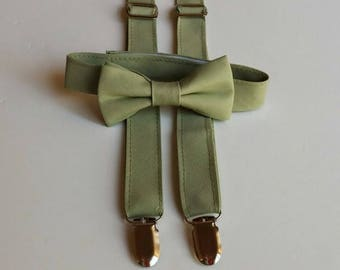 SALE Sage Bowtie and Suspenders Set                 2 weeks before shipping